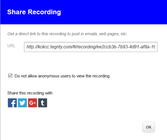Share recording dialog box