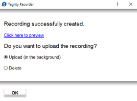 Recording successfully created dialog box