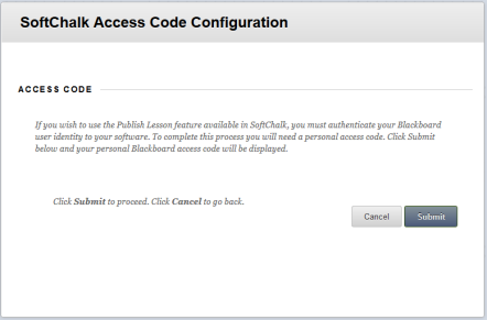 SoftChalk Access Code Configuration screenshot