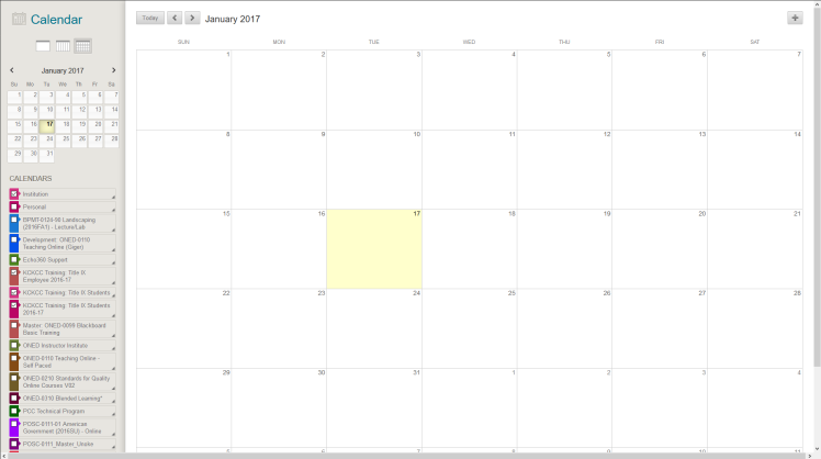 Calendar interface in Blackboard