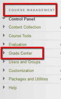 Grade Center link