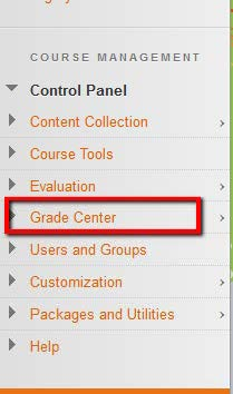 Grade Center link location from course management menu