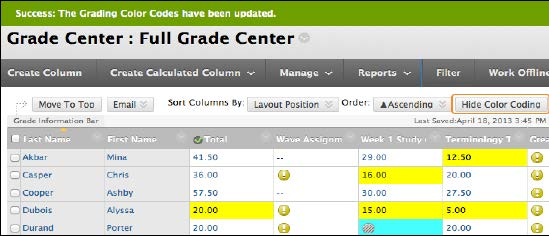 Grade Center in color codes