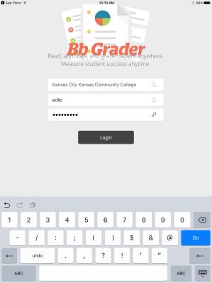 Bb Grader Login page