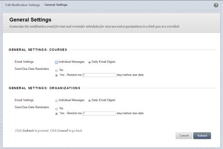Notifications General Settings Screenshot