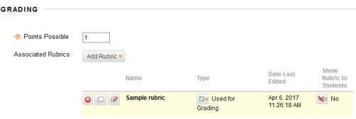 Associated rubric settings