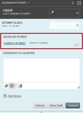 Grade by Rubric Grading option