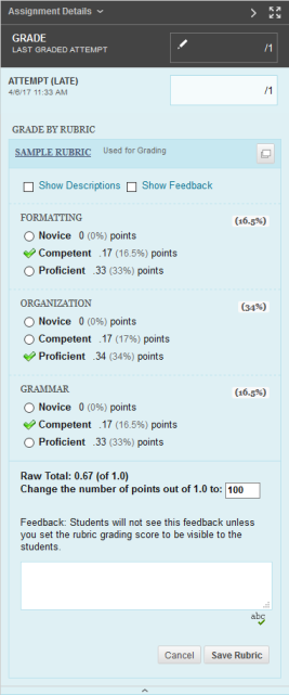Grade by Rubric Screenshot example
