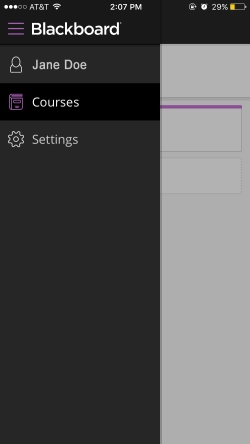 Screenshot of Blackboard Instructor Menu that shows your profile name, courses button, and settings button.
