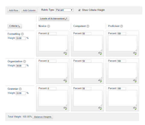 Rubrics screenshot