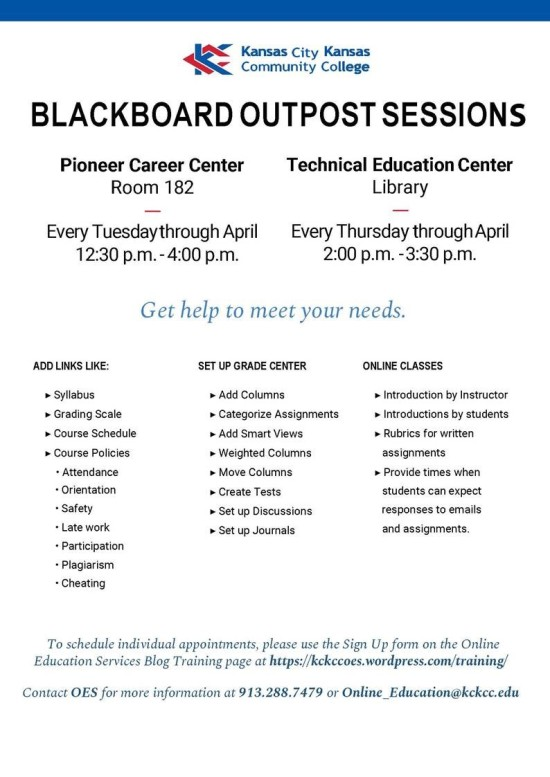 Flyer for the Online Education Services' Outpost Sessions at PCC and TEC